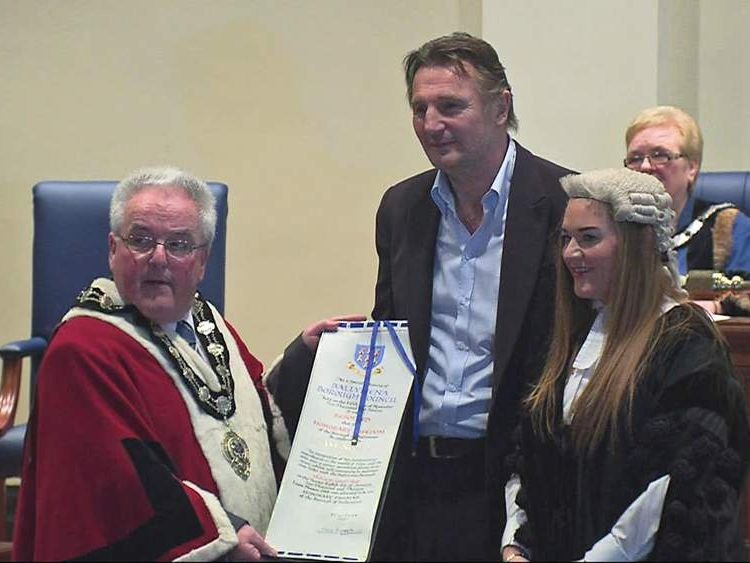 Liam Neeson in his home town of Ballymena receiving accolade