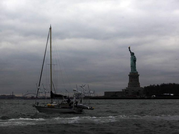 Statue of Liberty in darkness after Sandy