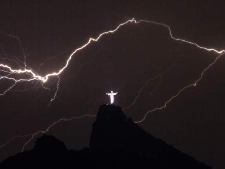 BRAZIL-LIGHTNING-CHRIST THE REDEEMER
