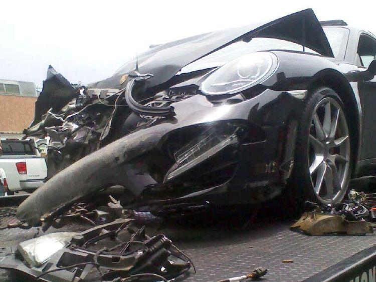 LINDSAY LOHAN porsche crash june 2012