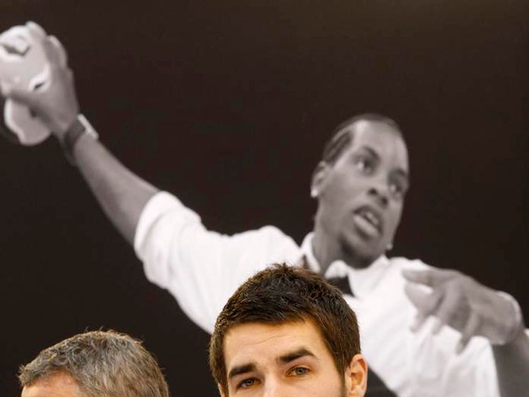 Luka Karabatic, former Montpellier handball club player, and Christian Salomez, president of PAUC Handball club, at a news conference in Aix-en-Provence
