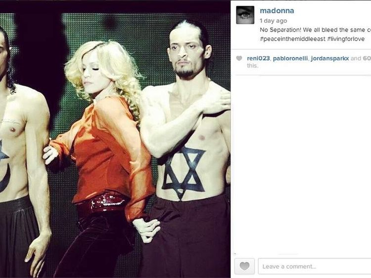 Madonna posts photo calling for peace on Instagram