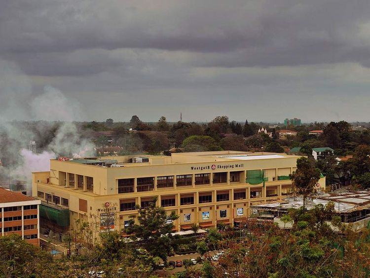 Smoke rises from the Westgate mall in Nairobi