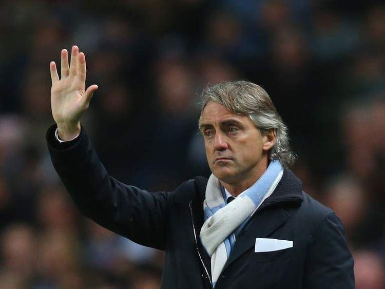 Roberto Mancini Watching Manchester City Match