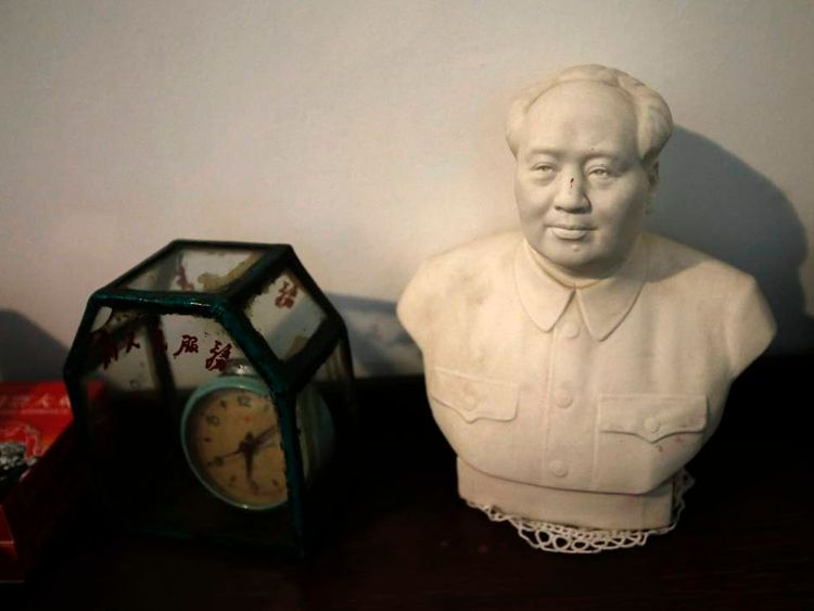 A bust of the late Chinese leader Mao is seen at a reminiscence room at the Beijing First Social Welfare Institution affiliated nursing home