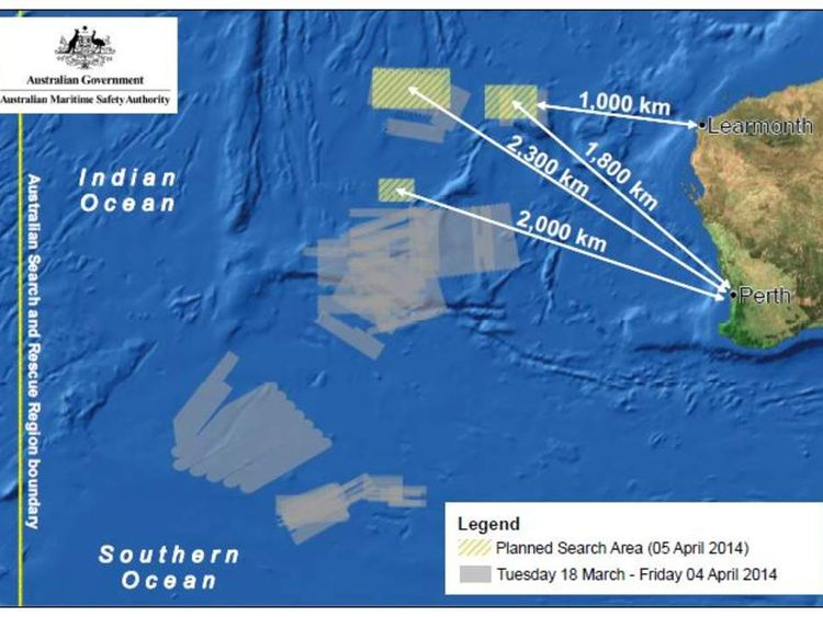 Missing plane search map