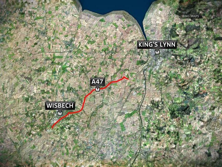 Map Of Road Crash Near Wisbech