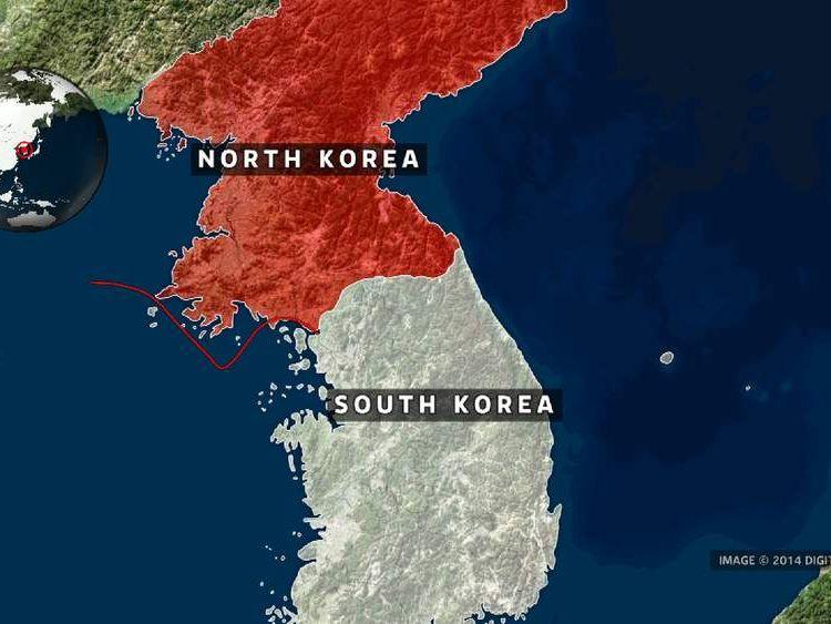 A map showing the de facto maritime border between the two Koreas