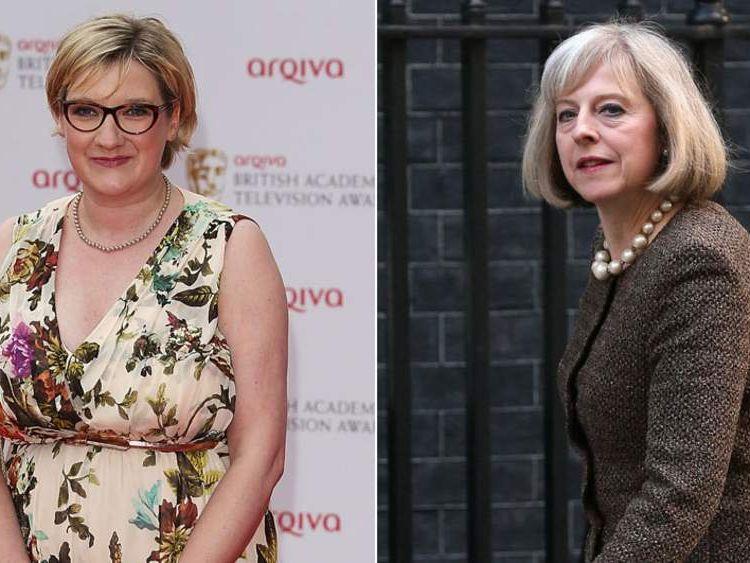 Theresa May and Sarah Millican