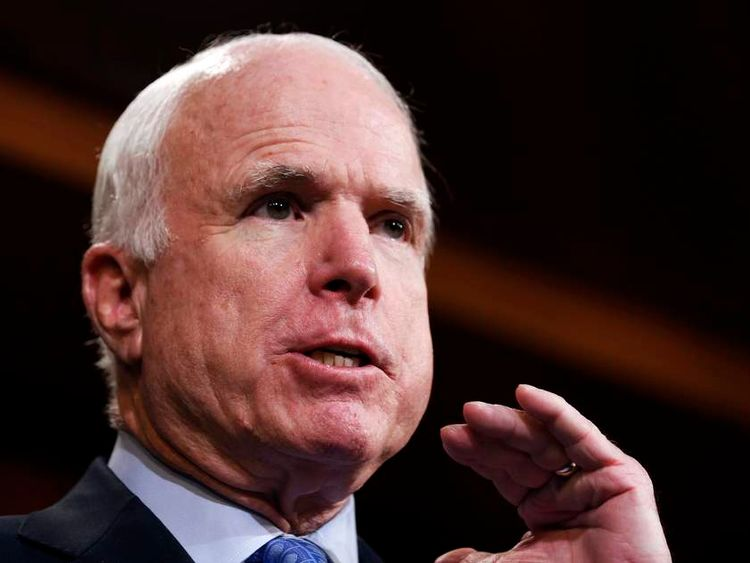 U.S. Senator John McCain speaks about the release of U.S. Army Sgt. Bowe Bergdahl, imprisoned by the Taliban in Pakistan since 2009, while on Capitol Hill in Washington