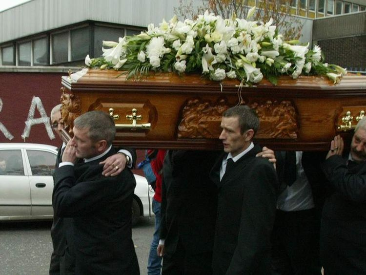 The 2003 funeral of Jean McConville, who was abducted and murdered by the IRA in Northern Ireland.