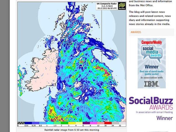 Rainfall, in mm, across the UK on December 20