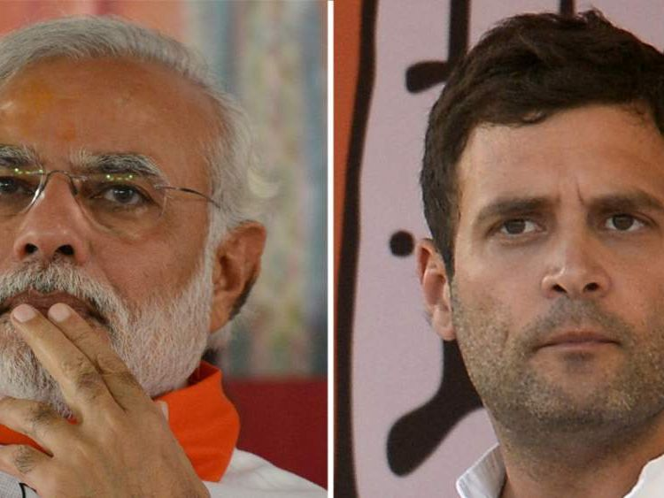 Narendra Modi of the BJP and the Congress Party's Rahul Gandhi