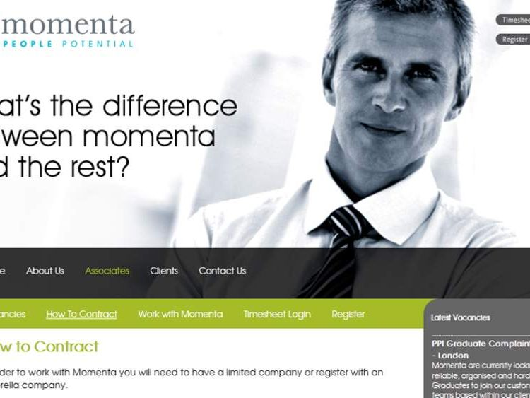 Momenta employs PPI complaints staff as limited company contractors