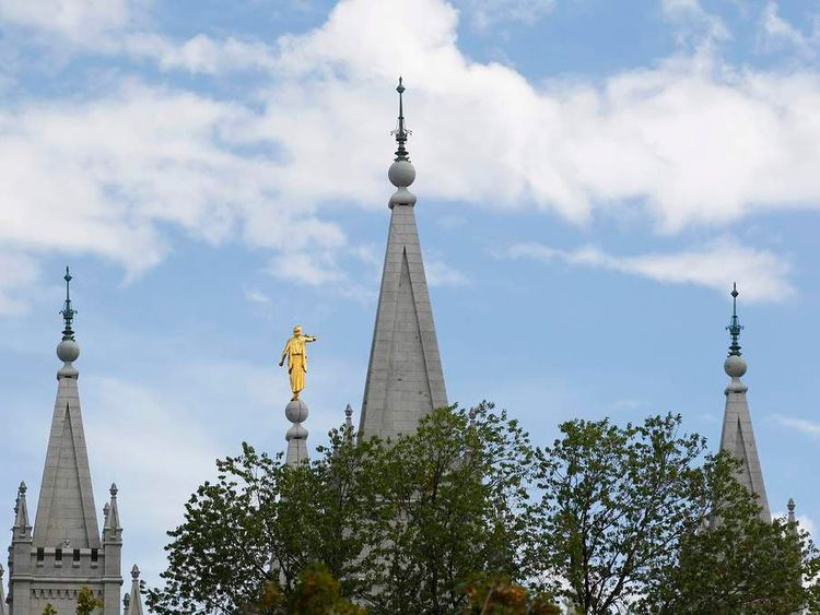 The spires of the Salt Lake Mormon temple are shown here as thousand of faithful Mormons gather for the fifth session of the 181st Semiannual General Conference of the Church of Jesus Christ of Latter-day Saints in Salt Lake City