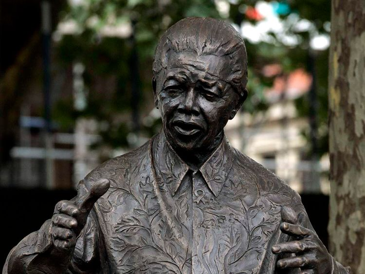 A statue of South Africa's former President Nelson Mandela in Parliament Square