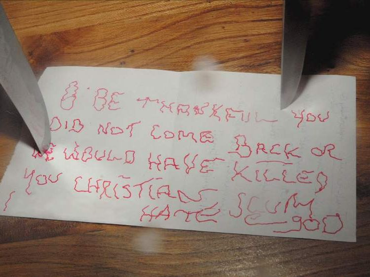 Stephen Farrow burgled house and left a note pinned to table by two knives