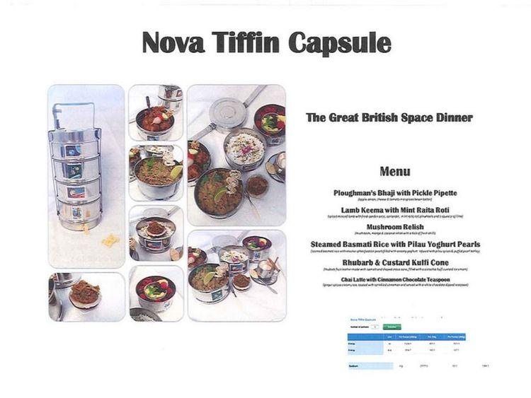Nova Tiffin Capsule menu for British ESA astronaut Tim Peake