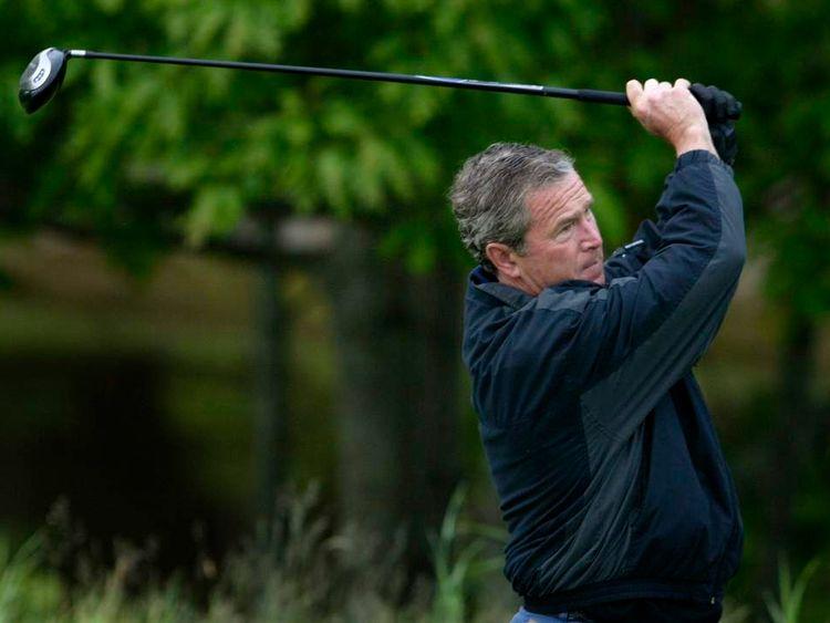 US President George W Bush tees off in Kennebunkport, Maine, in June 2003