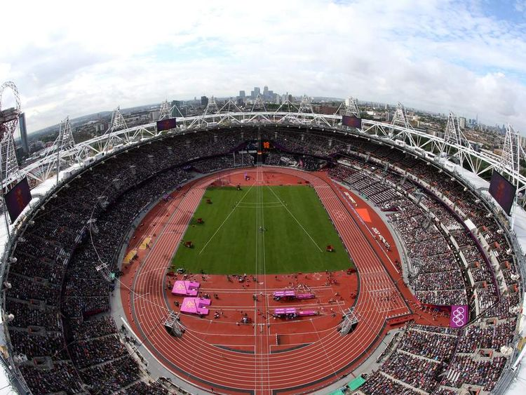 Aerial view of the Olympic Stadium in Stratford on day two of athletics