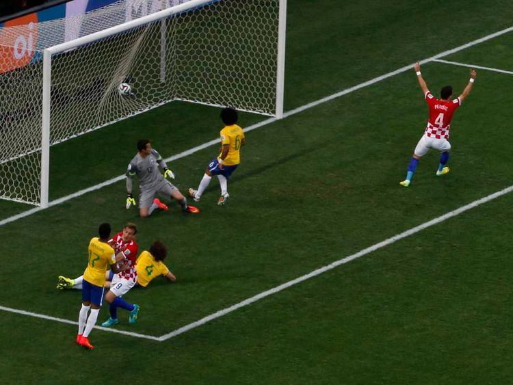 Brazil's Marcelo scores an own goal