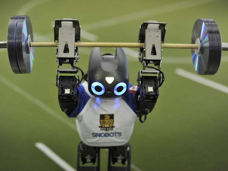 A robot competing in the weightlifting at the FIRA International RoboWorldCup in Bristol.