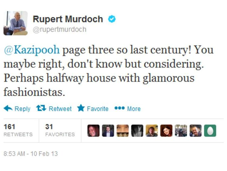 A tweet posted by News Corporation chairman Rupert Murdoch