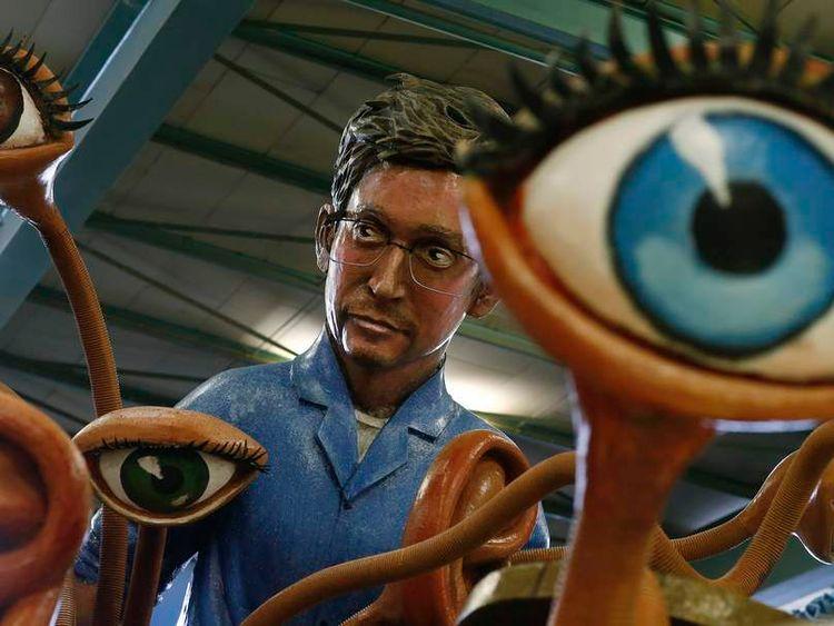 Papier mache figure depicting former U.S. spy agency contractor Snowden is pictured in Mainz