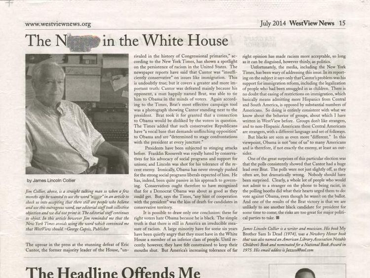 060714 $$ Obama Called N-Word In US Newspaper Headline