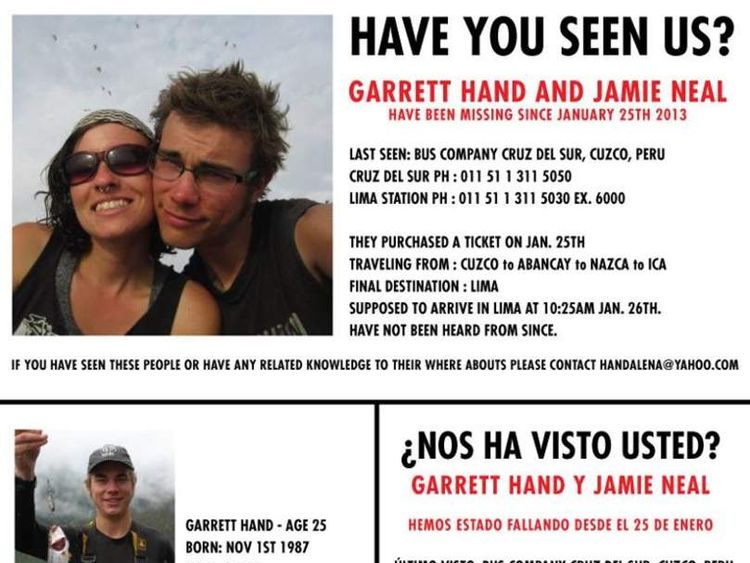 Facebook appeal flyer for Garrett Hand and Jamie Neal missing in Peru