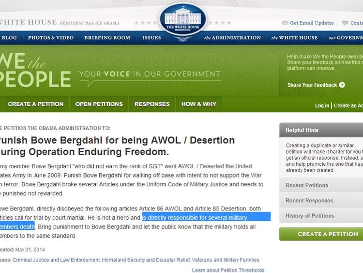 White House petition to punish Sgt Bowe Bergdahl