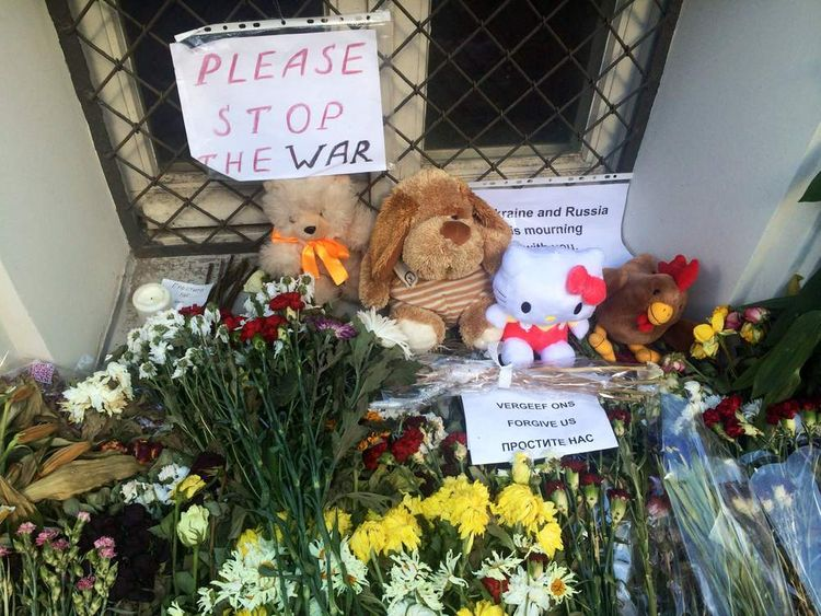 Tributes outside Dutch embassy in Moscow