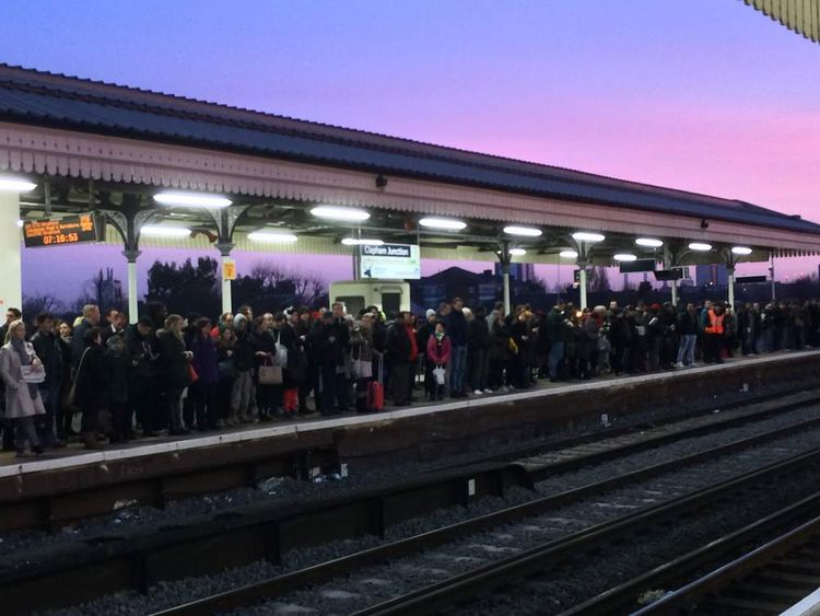 A crowded platform at Clapham Junction train station as tube strikes cause havoc for commuters