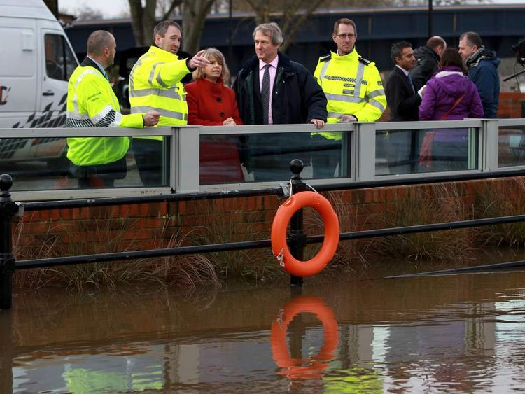 Environment Secretary Owen Paterson visits flood defences at Upton upon Severn, Worcestershire