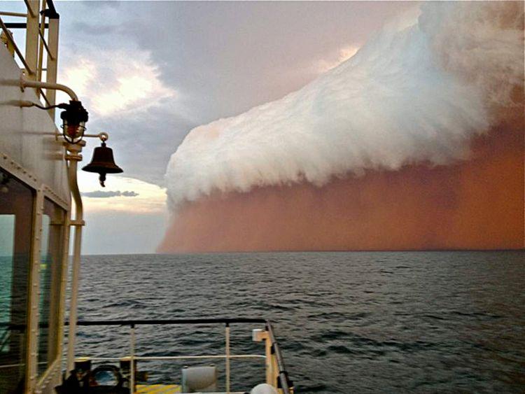 Dust storm off the coast of Onslow, western Australia
