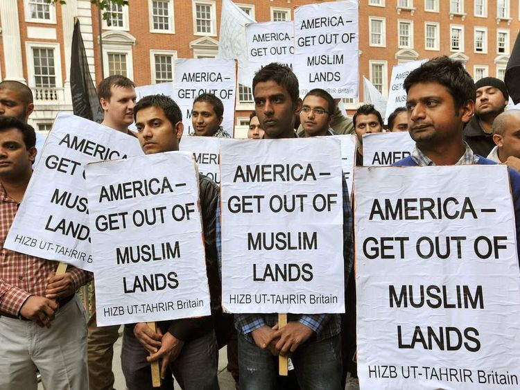 Islam protest placards