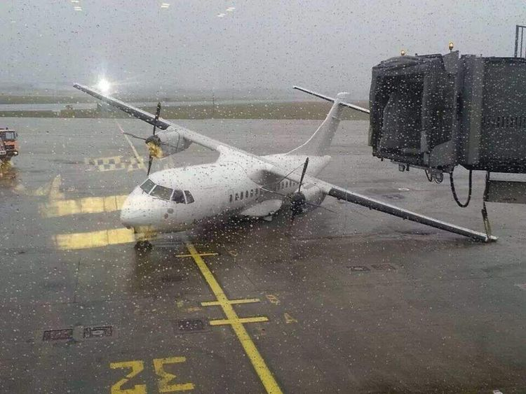 A plane on its side at Shannon Airport. Pic: @comeraghphoto