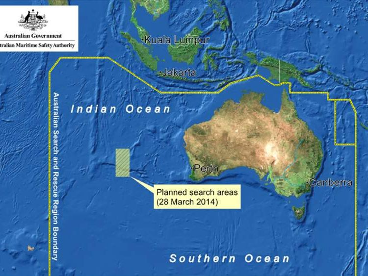 The planned search area for missing Malaysia Airlines flight MH370