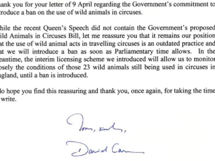 A letter from David Cameron with a promise to Animal Defenders International