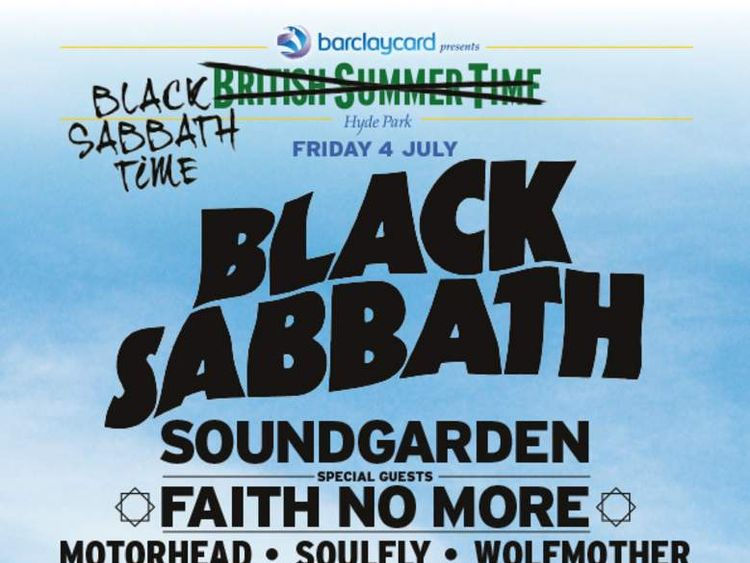 British Summer Time festival poster for Black Sabbath