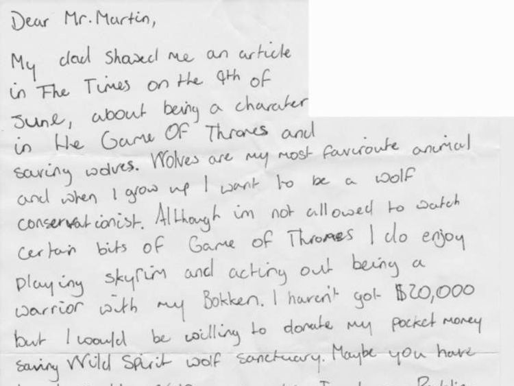 Game of Thrones fan's letter to author Pic: Prizeo