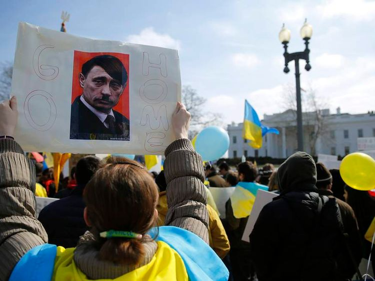 A pro-Ukraine protest outside the White House in Washington
