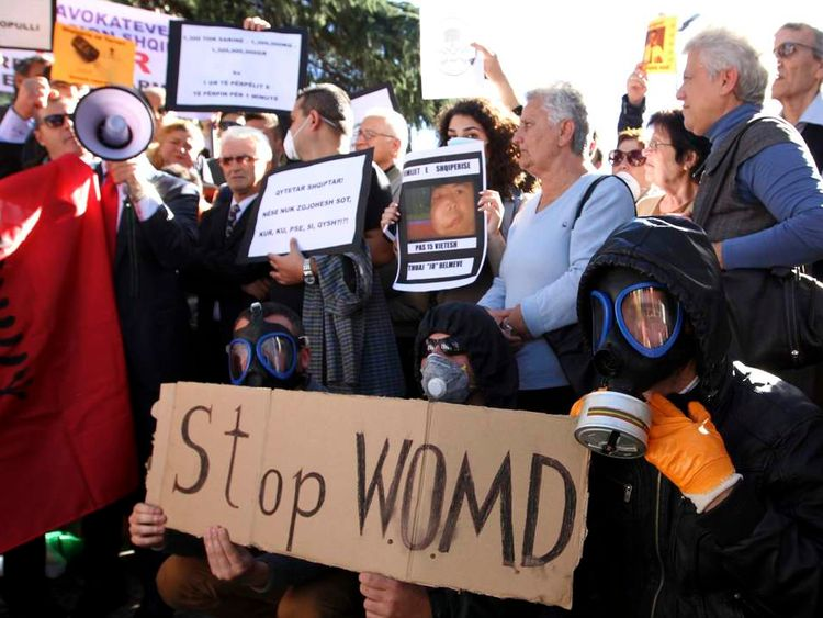 Demonstrators protest against the dismantling of Syrian chemical weapons in Albania in front of the Prime Minister's office in Tirana