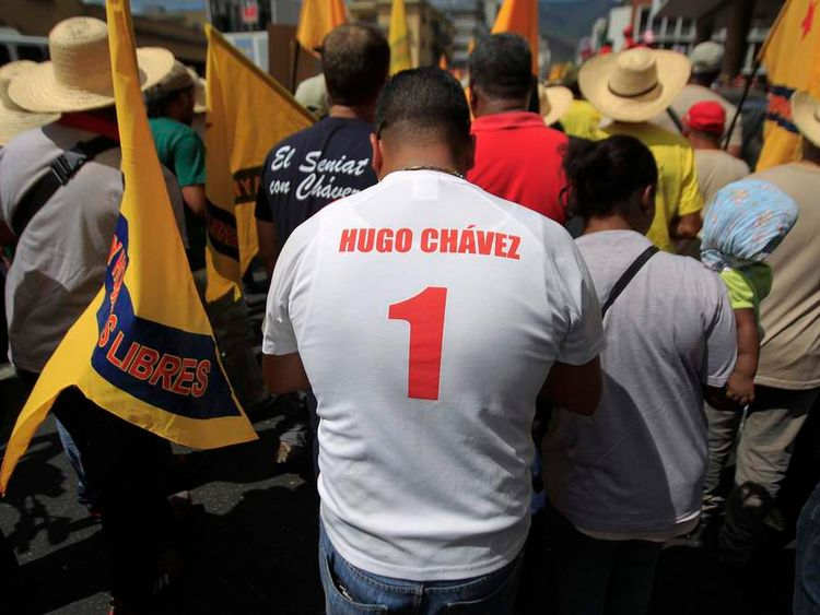 Supporters of Venezuela's President Hugo Chavez attend a rally in Caracas