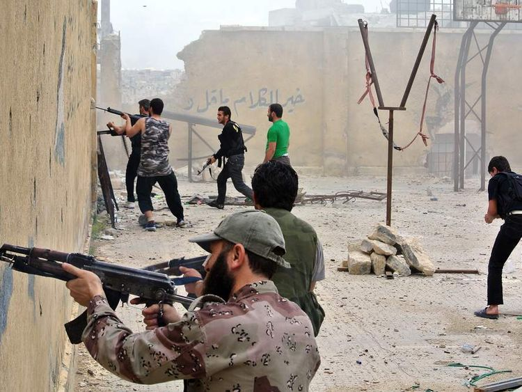 Rebel fighters in Syria.