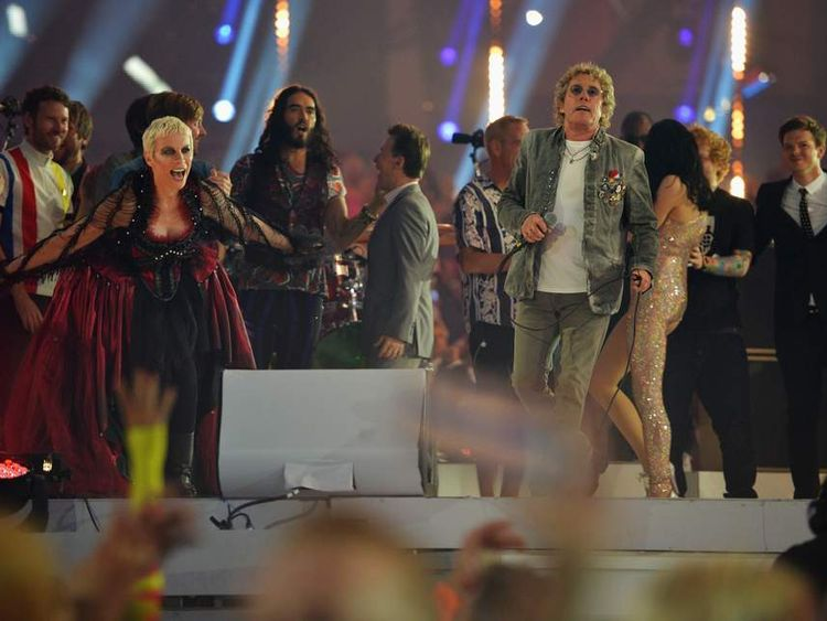 Roger Daltrey with Annie Lennox at the closing ceremony of last year's London 2012 Olympic Games