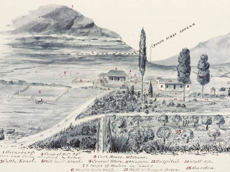 A sketch of the Battle of Rorke's Drift.