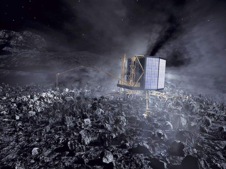 An artist's impression of Rosetta on the surface of comet 67P/Churyumov-Gerasimenko