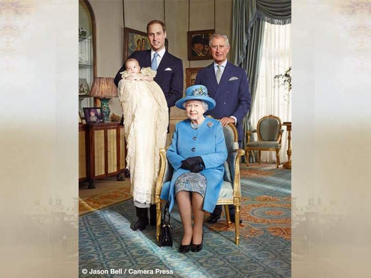 Four generations of the Royal Family: the Queen, the Prince of Wales, the Duke of Cambridge and Prince George