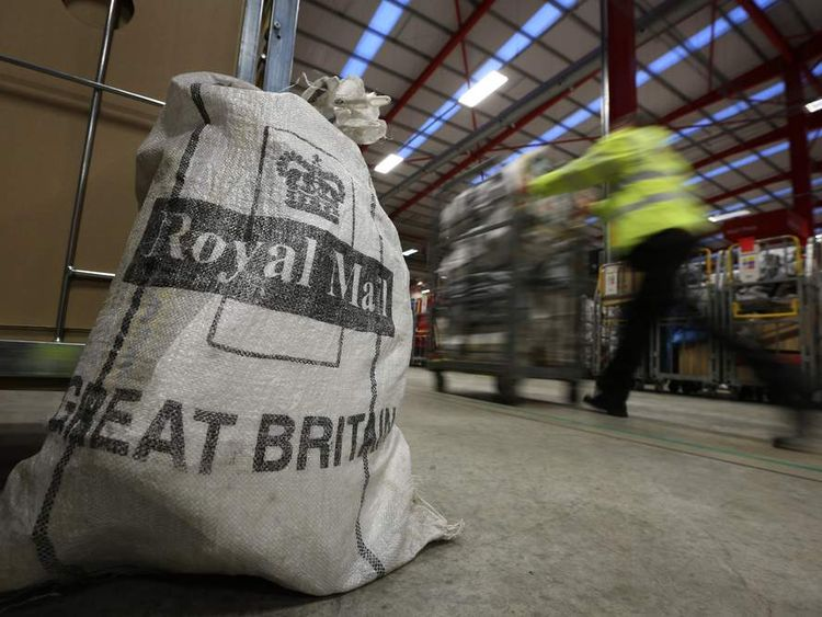 Royal Mail Bag At Sorting Centre